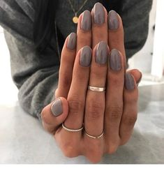 Nails dark grey nail polish gel manicure ideas for women Manicure Colors, Fall Nail Colors, Nail Manicure, Manicure Ideas, Dark Colors, Fall Nail Ideas Gel, Nail Ring, Summer Colors, Grey Nail Polish