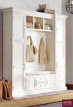 With summer winding down, getting organized for fall is a must! Start with the entryway or mudroom. Our Royce Hall Tree by Home Decorators Collection makes it easy to have the house organized when you step through the door. It has a storage bench with com Royce Hall, Shabby, Easy Home Decor, Mudroom, Home Organization, Porches, Home Projects, Home Remodeling, Armoire