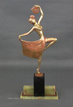 "A stylish Art Deco Austrian bronze  figure by Josef Lorenzl ""Señorita"", circa 1930s"