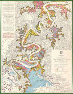 A 1974 Brisbane flood map.