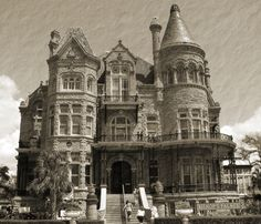 The Bishop's Palace, also known as Gresham's Castle, located in Galveston, Texas. Built between 1887 and 1893, this Victorian house was handcrafted from ceiling to roof by the finest craftsman available during the period. The American Institute of Architects has listed the home as one of the 100 most significant buildings in the United States, and the Library of Congress has classified it as one of the fourteen most representative Victorian structures in the nation.    The house was