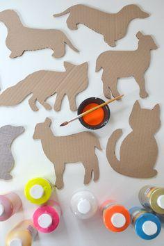 DIY: cardboard animals ~ recycled art ~ free templates
