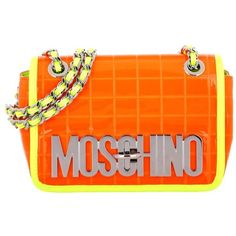 Moschino Reflective Crossbody Bag Neon Orange in orange, yellow,... ($535) ❤ liked on Polyvore featuring bags, handbags, shoulder bags, leather man bags, man bag, leather hand bags, purses crossbody and leather crossbody purses