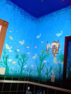 Fish tank murals tropical fish murals aquarium wallpaper for Aquarium mural gifi