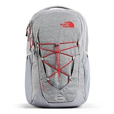 The North Face Jester Backpack - Mid Grey Dark Heather/Fiery Red Back to School Bungee Cord, Backpack Brands, Fiery Red, Black Friday Deals, North Face Backpack, Laptop Backpack, Men Looks, Gender Female, Looking For Women