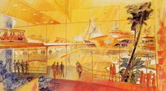 Tomorrowland concept art by John Hench #disney #imagineering