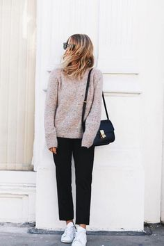 Fall Outfit Idea - Minimalist Style - Marled cozy gray sweater, black tapered trousers, and sneakers