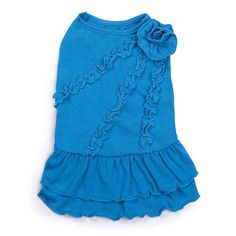 Zack & Zoey Rosette Ruffle Dog Dress - Bluebird