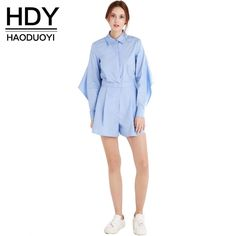 Hdy Haoduoyi New Fashion Women Solid Blue Backless Jumpsuit Casual Asymmetric Turn-Down Romper Basic Streetwear Playsuit  $35.00 www.ShopDulceVida.com . . #and #i #us #me #up #hondorus #rompers #song #shopify #Colorado #comfort #WestJordan #Aurora #onedirectionupdates #lanadelreyfanbase