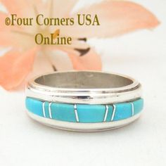 Four Corners USA Online - Size 5 Turquoise Inlay Ridge Ring Native American Wilbert Muskett Jr WB-1576, $135.00 (http://stores.fourcornersusaonline.com/size-5-turquoise-inlay-ridge-ring-native-american-wilbert-muskett-jr-wb-1576/)