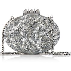 Christian Louboutin Mina crystal-embellished suede clutch (13.020 BRL) ❤ liked on Polyvore featuring bags, handbags, clutches, white handbags, white purse, evening clutches, leopard print handbags and special occasion handbags