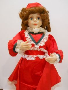 TELCO MOTIONETTE ANIMATED DOLL RED DRESS VICTORIAN CAROLER CHRISTMAS