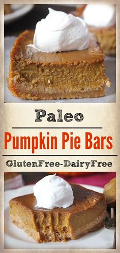 Paleo Pumpkin Pie Bars- a graham cracker-like crust and a sweet, smooth filling. Gluten free, dairy free, and naturally sweetened.