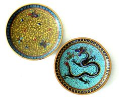 Pair Antique Cloisonne Dishes Chinese Dragon and Butterflies.