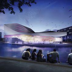 Nieuwe Theater Spijkenisse/UN Studio- architecture#art#design#sketch#night#render#render_contest#glass#facade#architecturedesign#architecturepicture#light#nature#humanscale#vray#photoshop#3dmax#pointofview#exterior#architecture
