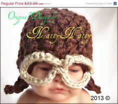 Pilot  hat  Hanmade Crochet  0 TO 5 years old Use by NattyHatty