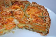 Potato Gratin with Rosemary Crust recipe. Sounds wonderful... layers of potato, sweet potato , cheese and cream on a rosemary crust!