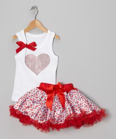 Designed just for Cupid's cutest, this festive fashion is ready for a full day of celebration. The tank shows off a festive, sparkly design, and the poufy pettiskirt has a smooth, covered elastic waistband. Toddler Dress, Toddler Outfits, Baby Dress, Infant Toddler, Toddler Girls, Little Dresses, Little Girl Dresses, Girls Dresses, Little Girl Fashion