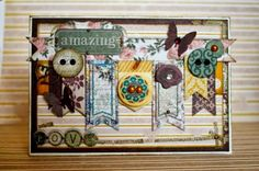 BoBunny: Let's Play with Rose Cafe! - 'Amazing' card by Romy Veul - Wendy Schultz ~ Cards Scrapbook Supplies, Scrapbook Cards, Scrapbooking, Card Creator, Pocket Cards, Card Maker, Stamping Up, Cardmaking, Paper Crafts