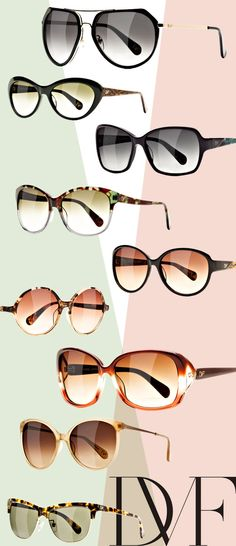~Soft neutral colors like spotty tortoise in warm browns, yellows and greens, black, nude and caramel offer a soothing alternative to the bright DVF shades in the new collection   The House of Beccaria