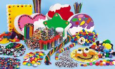 Classroom Collage Box $59.95  Includes glitter, colored craft sticks, art yarn, foam shapes, collage gems, foam beads, pom-poms, buttons, pipe stems, spangles & sequins, sparkly pipe stems, crinkle strips, wiggly eyes, colored feathers, lacing cord, and 30 collage boards