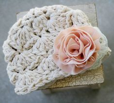 Baby Girl Hat Newborn Photo Prop Flower Hat by bitOwhimsy. I really need to practice my crocheting, these are super cute!