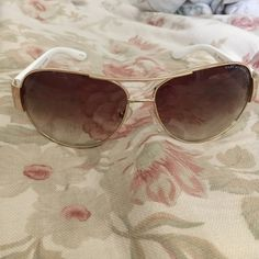 Marc by Marc Jacobs MMJ 148/S 24S gold/white Never worn Marc by Marc Jacobs aviators. Comes with the original case and Nordstrom purchase sticker inside for repair purposes. Marc by Marc Jacobs Accessories Sunglasses