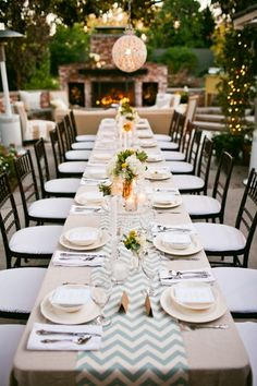 Beautiful for rehearsal dinner. Long Tables, Wedding Ideas, Table Settings, Backyard, Simple, Wedding Dresses, Bride Dresses, Patio, Wedding Gowns