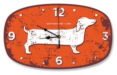 DACHSHUND USA WALL CLOCK orange    MUST HAVE!!