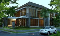 65 Examples of Modern Minimalist 2 Storey House Designs 2 Storey House Design, Modern House Design, House With Balcony, Modern Minimalist House, House Foundation, Building Concept, Narrow House, Storey Homes, Architect House