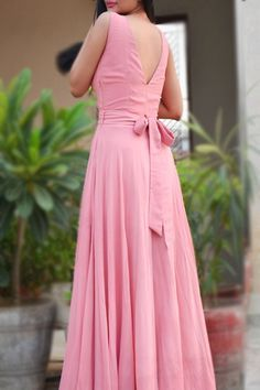 Double Flair Padded Long Dress - Buy this exclusive dress from ColorauctionPink Double Flair Padded Long Dress - Buy this exclusive dress from Colorauction Pink Double Flair Padded Long Dress - Women Pink Dresses Online Indian Gowns Dresses, Indian Fashion Dresses, Indian Designer Outfits, Designer Dresses, Ladies Dresses, Designer Wear, Fashion Outfits, Long Dress Design, Dress Neck Designs