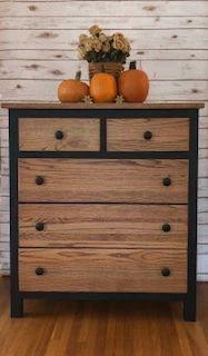 Two-Toned Black & Stained Dresser Repurposed Furniture, Rustic Furniture, Bedroom Furniture, Diy Furniture, Painted Furniture, Furniture Outlet, Furniture Design, Furniture Stores, Discount Furniture