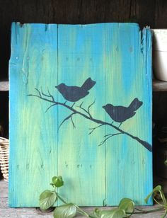 Aqua & green ombre art. Love Birds Pallet Art Handpainted Birds by RescuedandRepurposed