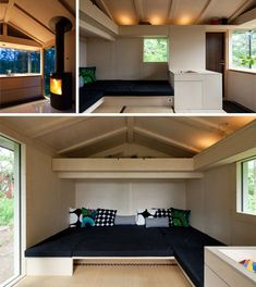 Small Cabin Interior Design with Unique Modern Style / Pictures . Small Cabin Interior Design Cabin Interior Design Ideas Board by picc. Cabin Interior Design, Cottage Design, House Design, Cabin Design, Tiny Apartments, Tiny Spaces, Small Cabin Interiors, Little Houses, Tiny Houses