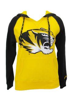59c5ddf71f0117 Missouri Tigers Womens Hooded Sweatshirt - Gold Tigers Glimmer Pullover  Long Sleeve Hoodie http
