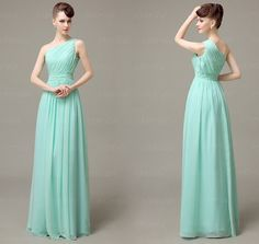 mint bridesmaid dresses, chiffon bridesmaid dresses,one shoulder bridesmaid dresses,