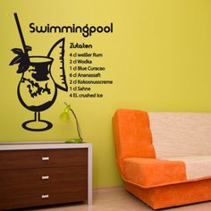 Um dir noch mehr Sommerfeeling nach hause zu holen, hol dir das Rezept vom beliebten Swimmingpool Cocktail und lege dich mit dem Getränk an deinen Pool und genieß den Sommer. #Swimmgpool #Rezept  #Wadeco // http://www.wadeco.de/swimmingpool-cocktail-wandtattoo.html