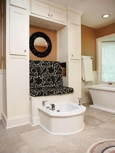 Luxury bathroom with a padded bench and built in foot spa… oh, bliss  (via Bathrooms with Unique Features : Home Improvement : DIY Network)