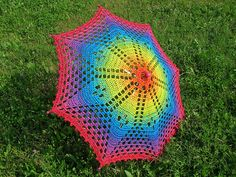 Rainbow Crochet Lace Umbrella/Parasol - CROCHET - I really LOVE doilies. But not over a table or anywhere else in my house! So I decided to use my rainbow doily for something else. Crochet Crafts, Crochet Doilies, Yarn Crafts, Crochet Lace, Crochet Mandala, Crochet Afghans, Crochet Blankets, Lace Knitting, Knitting Needles