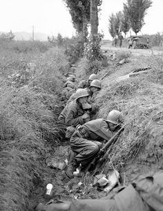 American troops and some South Koreans are in a ditch along the road running near the Naktong River in South Korea on Sept. 19, 1950