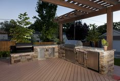 Stone outdoor kitchen with grill and smoker. - OConnorPatricia LTD - Stone outdoor kitchen with grill and smoker. Stone outdoor kitchen with grill and smoker. Simple Outdoor Kitchen, Outdoor Kitchen Grill, Backyard Kitchen, Outdoor Kitchen Design, Backyard Patio, Outdoor Kitchens, Design Grill, Patio Design, Outdoor Smoker
