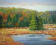 """I'm gearing up for fall!! Can't wait to go hiking and see all the colors and feel the cold, crisp air. Inspired by, you guessed it, a photo I took in the Adirondacks. ©2013 Paula Ann Ford, Autumn at Green Bridge, Soft Pastels on Ampersand Pastelbord, 8""""x10"""" #Adirondack"""