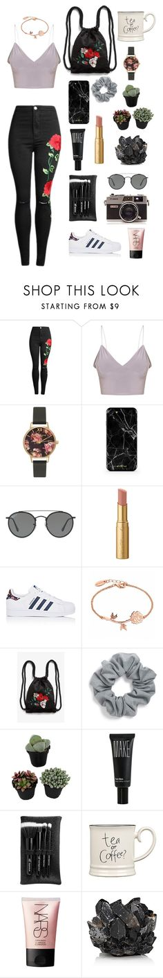 """back to black"" by marissaklumb ❤ liked on Polyvore featuring Olivia Burton, Ray-Ban, Too Faced Cosmetics, adidas, Monki, Natasha, Make, e.l.f., Expressions and NARS Cosmetics"