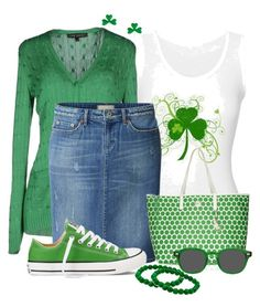 """""""St. Patrick's Day"""" by cathy0402 ❤ liked on Polyvore featuring Ralph Lauren Black Label, Uniqlo, MICHAEL Michael Kors, Converse and Moscot"""