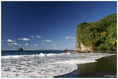 Anse Céron, north of Le Prêcheur in the north-west -  Pristine black sand beach, with the startling blue of the sea to the west and unspoiled forests inland.