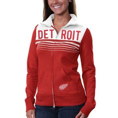 '47 Brand Detroit Red Wings Ladies Playoff Track Jacket - Red/White #fanatics