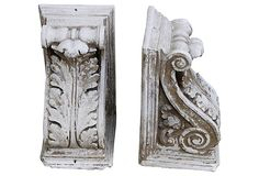 Painted White Corbels, Pair -would make nice book ends