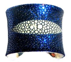 wow!!!! Sapphire Blue Metallic Stingray Leather Cuff Bracelet #prom #jewelry