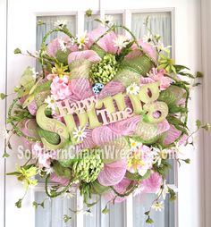 Happy spring mesh wreath by www.southerncharmwreaths.com #decomesh