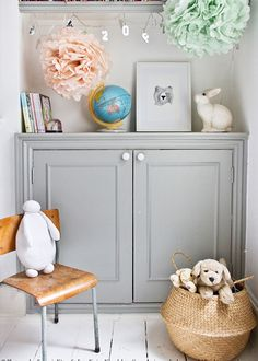 The first thing about French homes is that we love our grays -- we love the grays from Farrow & Ball Pavilion Gray or Lamp room Gray Girl Room, Girls Bedroom, Bedroom Decor, Bedroom Alcove, Bedroom Bed, Design Bedroom, Casa Kids, Home Goods Decor, Home Decor